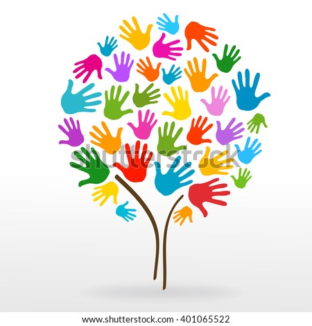 tree hands illustration background - stock vector