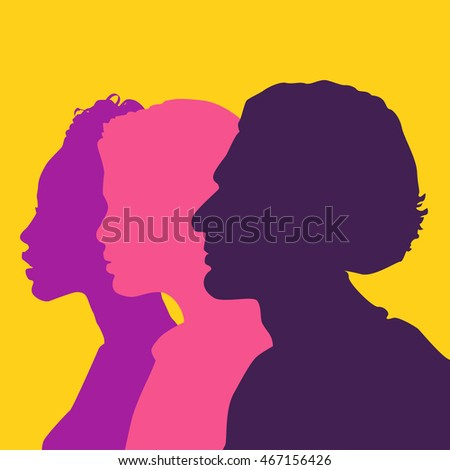 Tree head silhouette colorful background. Friendship between different people
