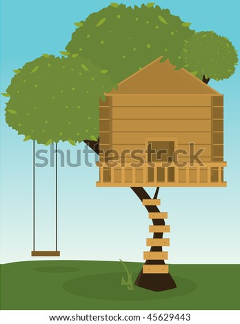 Tree house with swing - vector version