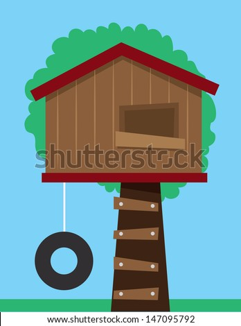 Tree house with tire swing  - stock vector
