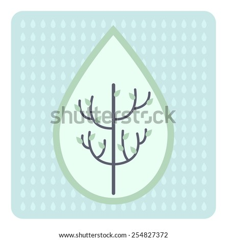 Tree icon about ECO design, vector pastel color - stock vector