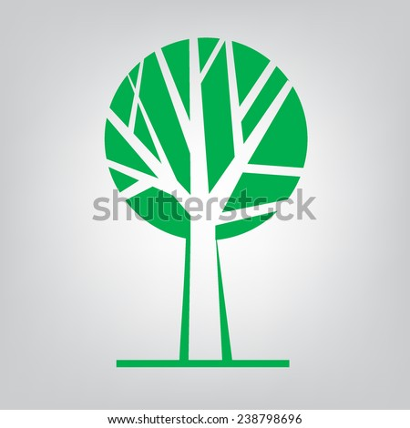 Tree icon concept of a stylized tree with leaves. Green Tree vector logo design template. Garden creative concept. Eco idea ecology icon.  - stock vector