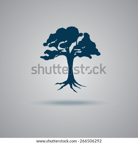 Tree, icon, flat, vector, illustration. - stock vector
