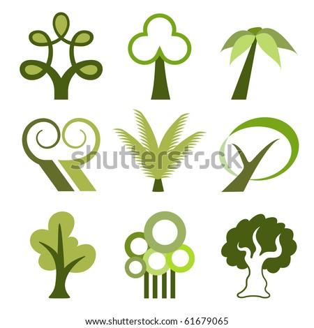 Tree icons - stock vector