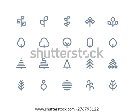 Tree icons. Line series - stock vector
