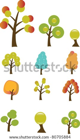 tree icons, signs, vector illustrations