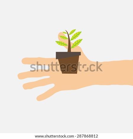 tree in hand - stock vector