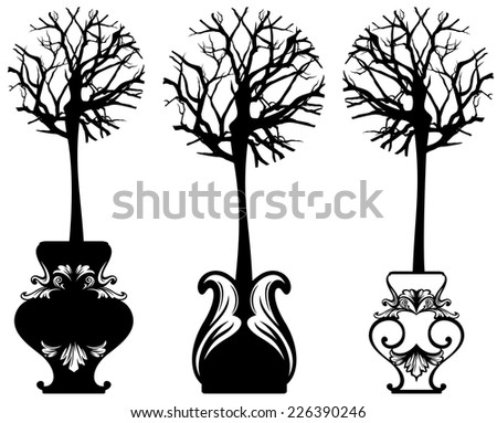 tree in ornate pot decorative vector set - black and white detailed design elements - stock vector