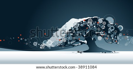 Tree in snow - stock vector