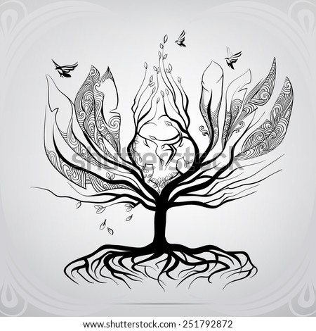 Tree in the form of a bird - stock vector