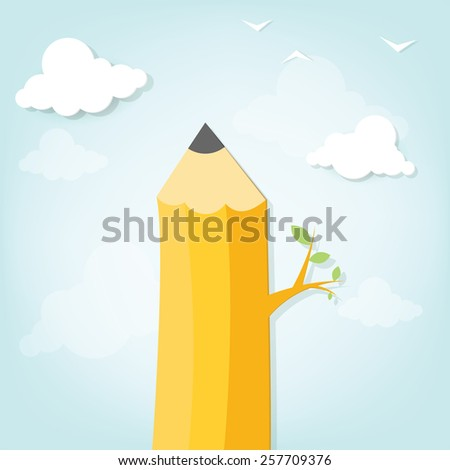tree in the form of a pencil in the clouds - stock vector