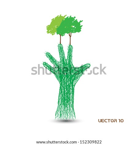 tree in the form of human hand roots - the concept of eco  - stock vector