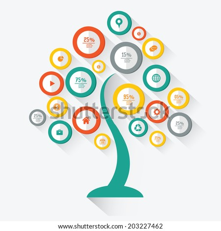 Tree info graphics design,for text,on white background,vector - stock vector