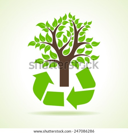 Tree inside the recycle icon- vector illustration - stock vector