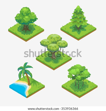 tree isometric vector isolated. - stock vector