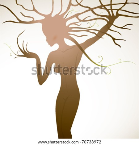 Tree like woman with beautiful body / Flora - stock vector
