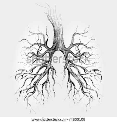 Tree - Lungs of the Earth / realistic sketch - stock vector