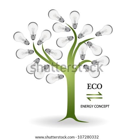 Tree made of light bulbs. Vector Illustration. - stock vector