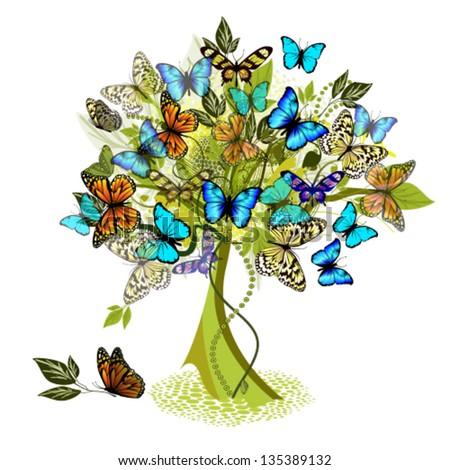 Tree of flying butterflies - stock vector