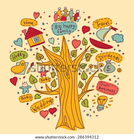 Tree of goals dreams wishes objects colors Drawing your tree of happy life dreams and targets. Color doodles illustration. - stock vector