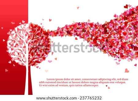 Tree of hearts. Various hearts on tree. Red Valentine's template. Red and white illustration. There is place for your text. - stock vector