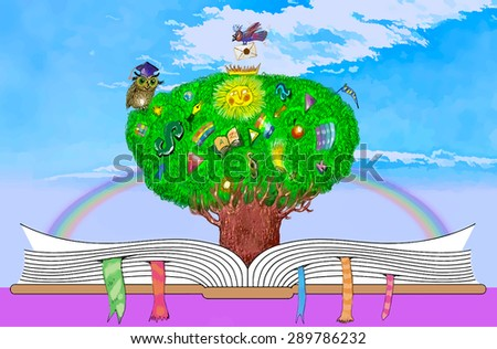 Tree of knowledge growing from an open book of fantasy stories on sky background. Symbol of scientific knowledge of the world - stock vector
