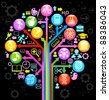 tree of knowledge. the concept of the learning sciences.the abstraction of the icons on the subject of teaching - stock photo