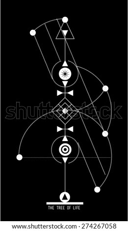 Tree life geometrical design hipster tattoo stock vector for Tree of knowledge of good and evil tattoo