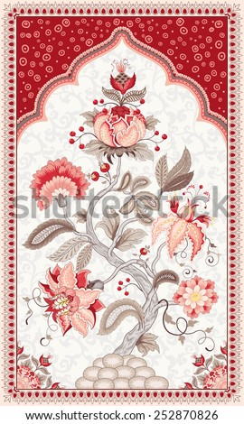 Tree of Life in beautiful indian decorative frame. The motives of the paintings of ancient Indian fabrics. Tree of Life collection. - stock vector