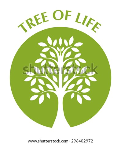 tree of life in green circle - stock vector