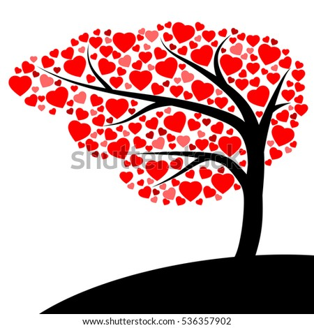 Tree of Red Heart icon on white background with love concept