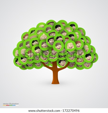 Tree of smiling happy family faces. Vector illustration - stock vector