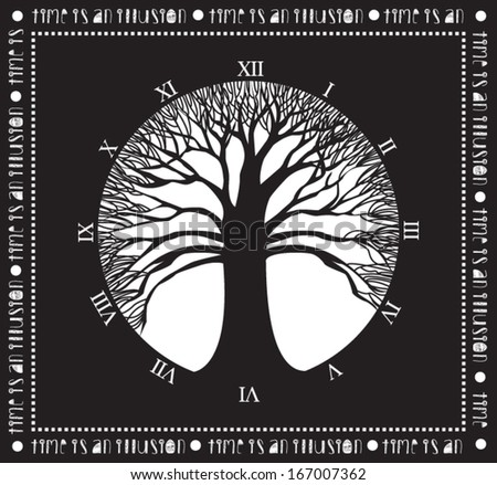 Tree of time - Monochromatic poster with wide naked tree and clock without handles: Time is an Illusion, concept art - stock vector