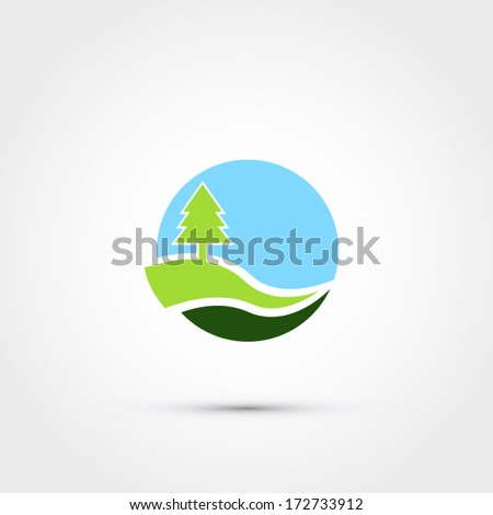 Tree on hill abstract icon - stock vector