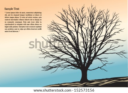 tree on the autumn hill background - stock vector