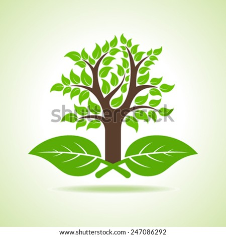 Tree on the leaf- vector illustration - stock vector