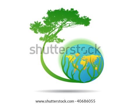 tree on world globe    - stock vector