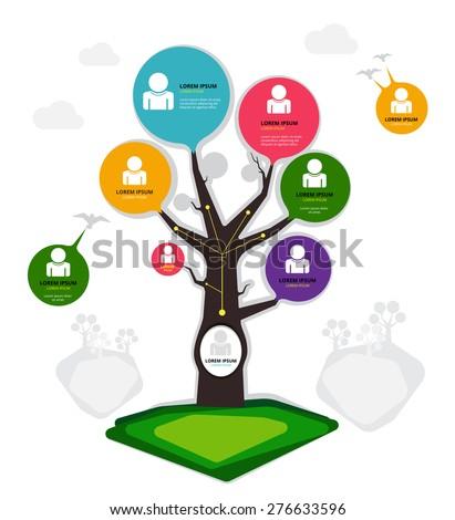 Tree organization chart, vector illustration - stock vector