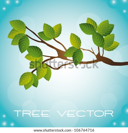 tree over beautiful sky background. vector illustration - stock vector