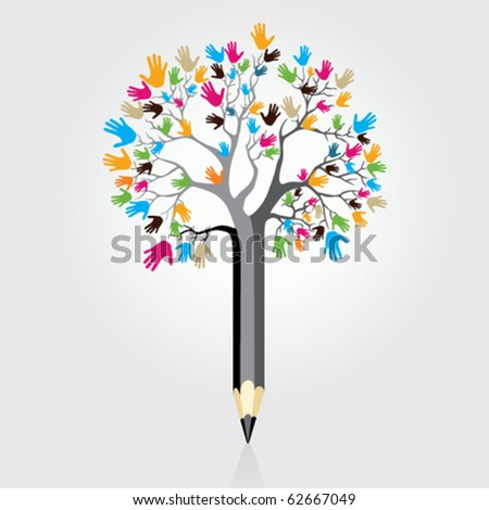 tree pencil abstract - stock vector