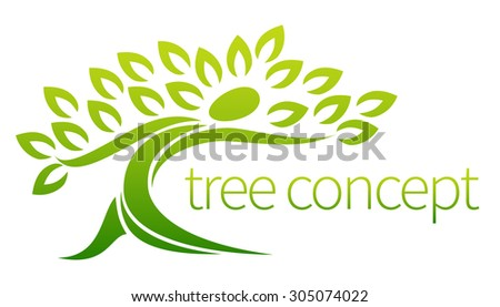 Tree person icon, a tree in the shape of a person with leaves, lends itself to being used with text - stock vector