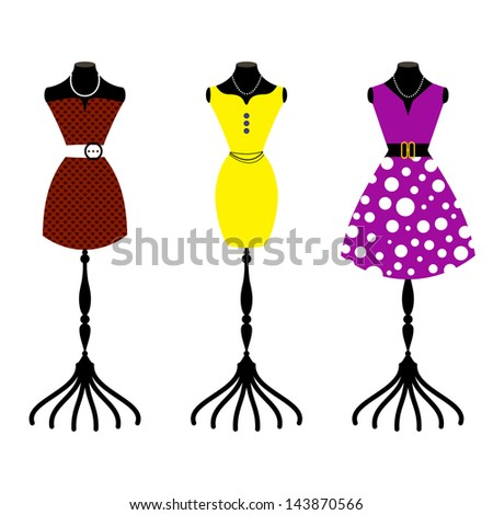 Tree retro dresses on body forms / fashion mannequin  - stock vector