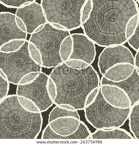 Tree Rings Pattern Seamless Vector - stock vector
