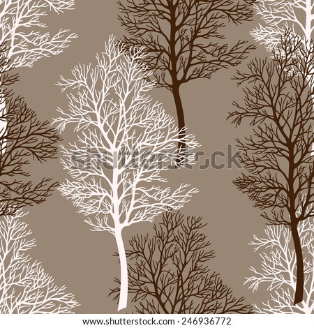 Tree seamless pattern, background. Tree without leaves isolated on a brown background. Vector. - stock vector