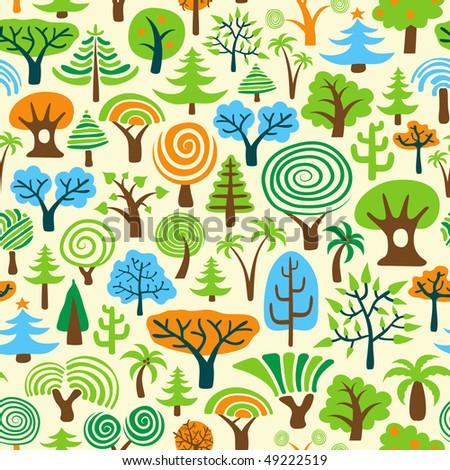 Tree Seamless Wallpaper - stock vector