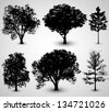 Tree Set Silhouettes | EPS10 Vector - stock vector