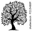 Tree shaped silhouette 3 - vector illustration. - stock photo