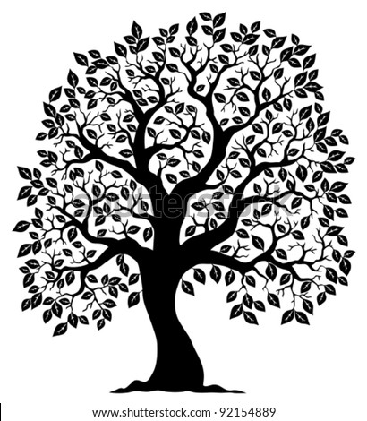 Tree shaped silhouette 3 - vector illustration. - stock vector