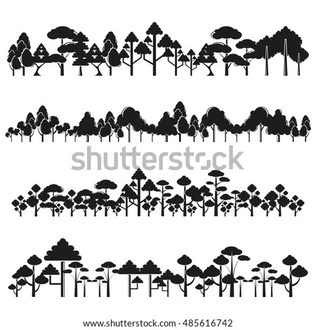 tree silhouette and plant set, forest set