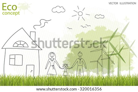 Tree silhouette, family, home, mill on the green grass. Ecologically clean world. Vector illustration of ecology the concept of information graphics. Doodle - stock vector